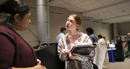 Job seeker Kimberly Stevens of Rocky Point, right,