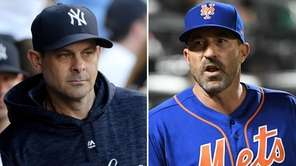 This composite image shows Yankees manager Aaron Boone,