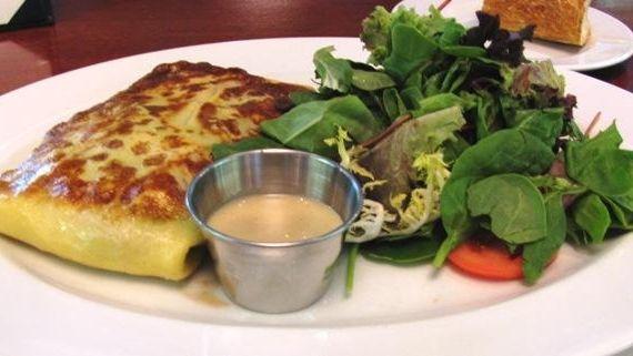 Shrimp-asparagus-leek crepe with salad at Sage Bistro Moderne