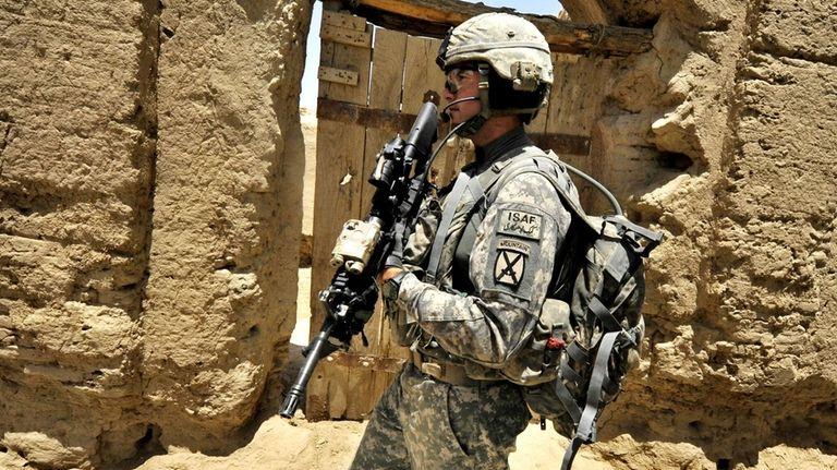 Joseph Theinert from Bravo Troop 1-71 CAV walks