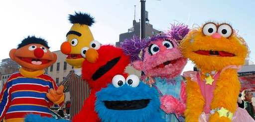 From left, Ernie, Bert, Elmo, Cookie Monster, Abby