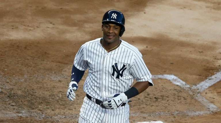 Miguel Andujar of the Yankees celebrates his fourth