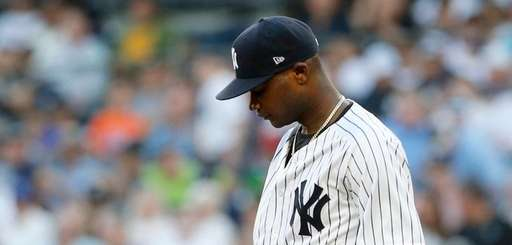 Domingo German of the Yankees reacts during the