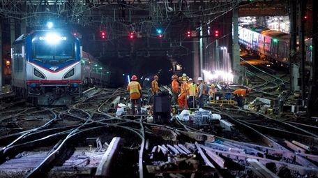 Amtrak workers making repairs in 2017.