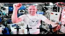German astronaut Alexander Gerst is shown on a