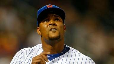 Jeurys Familia of the Mets walks to the