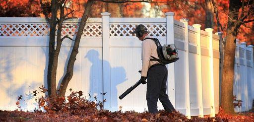 A leaf blower in use in a yard