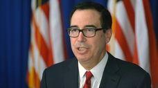 Treasury Secretary Steven Mnuchin speaks during a briefing