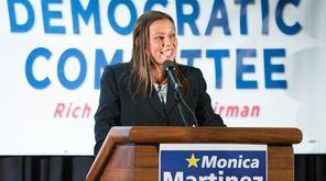 Suffolk Legis. Monica Martinez speaks during a rally