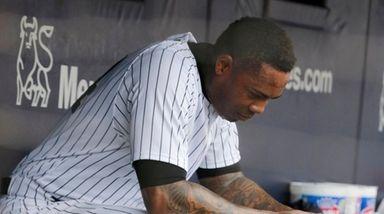 Aroldis Chapman of the Yankees sits in the