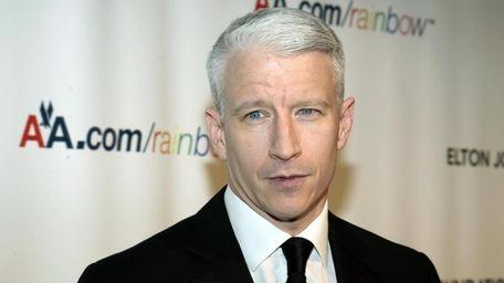Journalist Anderson Cooper arrives at the Elton John