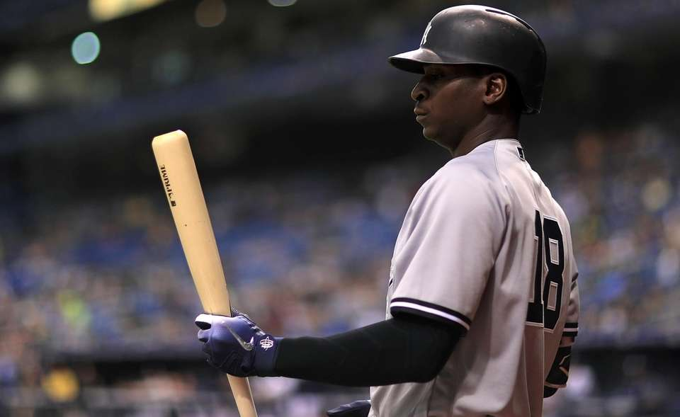 Didi Gregorius of the New York Yankees looks