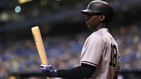 Didi Gregorius of the New York Yankees looks