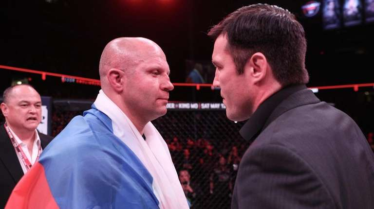Fedor Emelianenko, left, and Chael Sonnen square off