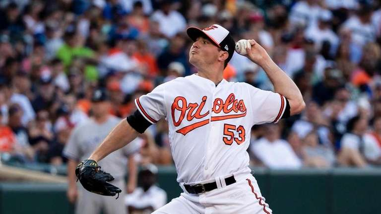 Orioles closer Zach Britton throws during the ninth