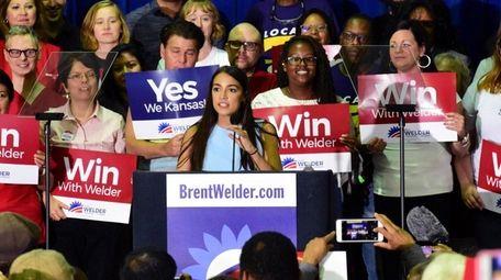 New York congressional candidate Alexandra Ocasio-Cortez speaks in