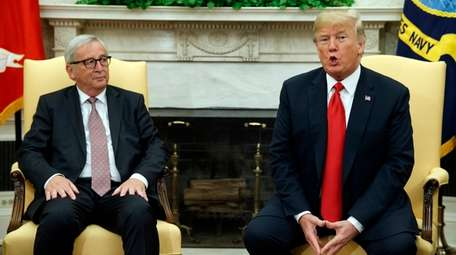 President Donald Trump meets with European Commission president