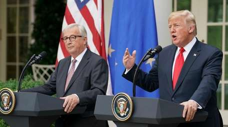 European Commission president Jean-Claude Juncker and President Donald