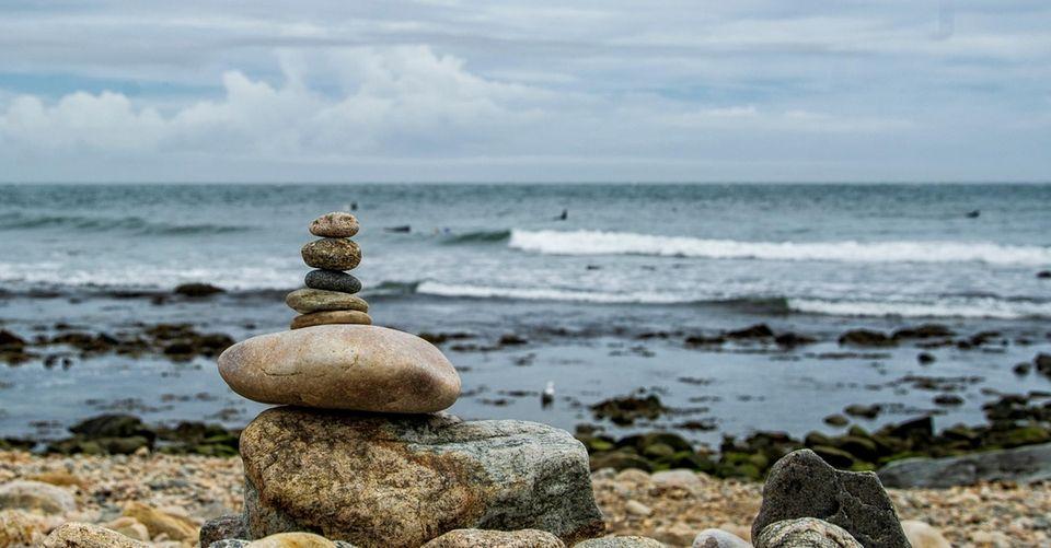 Stacked rocks at Montauk Lighthouse