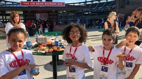Kidsday reporters at Citi Field's food court, from