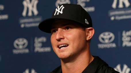 Zach Britton of the Yankees speaks during a