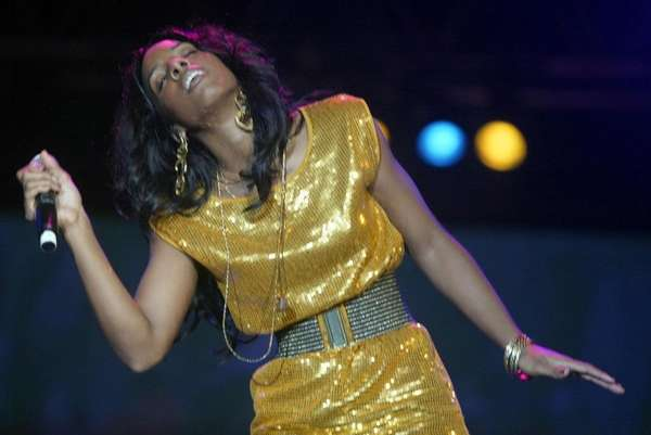 US singer Kelly Rowland entertains the audience briefly