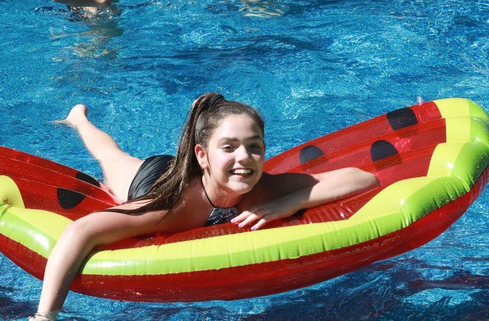 My granddaughter Vanessa is enjoying floating in my
