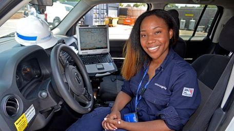 National Grid meter reader Renee Baptiste of Roosevelt,