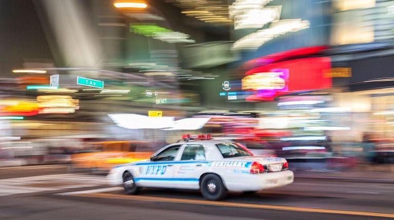 A police car responding to a crime scene.