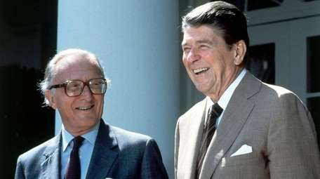 NATO Secretary General Lord Carrington and President Ronald