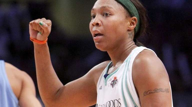 New York Liberty #23 Cappie Pondexter celebrates after