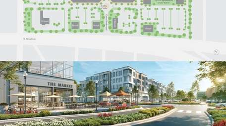 A site plan and rendering for the former