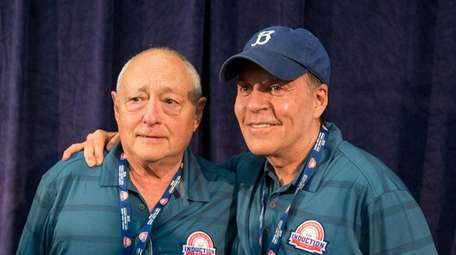Sheldon Ocker and Bob Costas at the Cooperstown