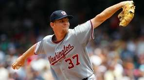 Washington's Stephen Strasburg pitches against the Cleveland Indians