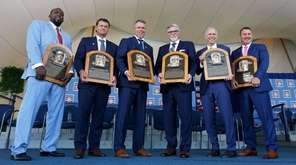 From left, Hall of Fame iInductees Vladimir Guerrero,