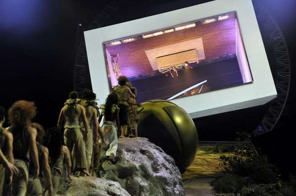 A 25-foot-high projection screen allowed guests to experience