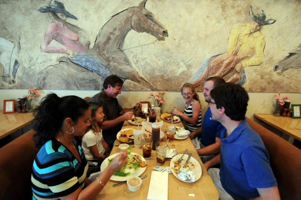 Family-friendly booths and a Southwestern menu are designed