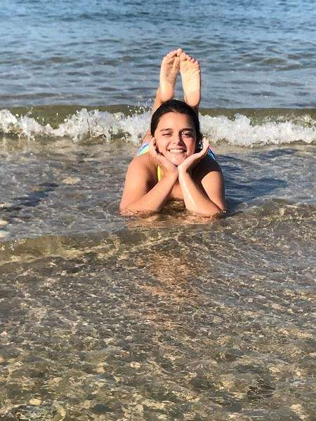 Sarah O'Donnell enjoying Meshutt Beach in July!