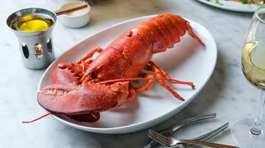 A 2-pound steamed lobster served with butter sauce