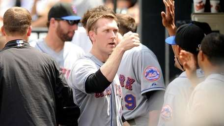 Jason Bay in the Mets dugout.