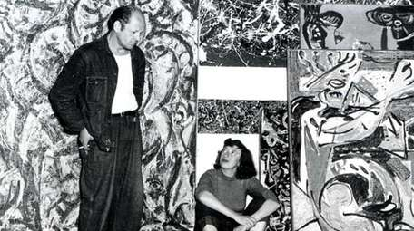 Jackson Pollock and Lee Krasner in Pollock's studio