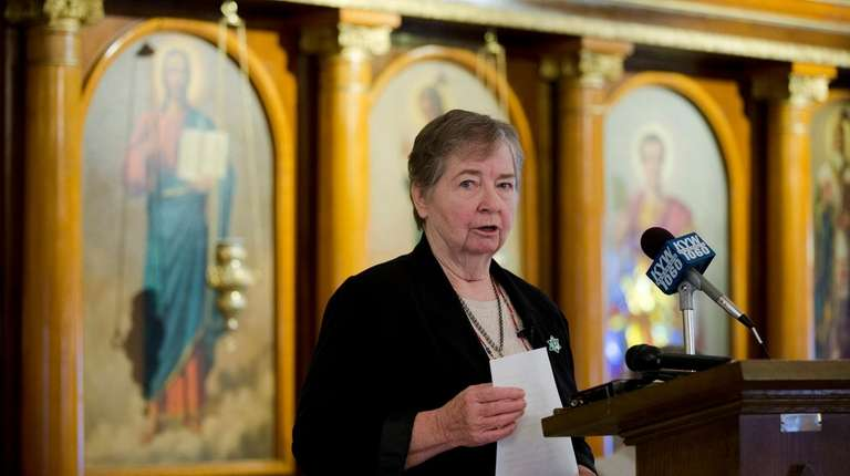 Sister Maureen Paul Turlish speaks during during a