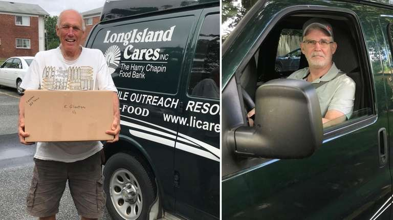 Paul Todaro, left, and Don Riker deliver food