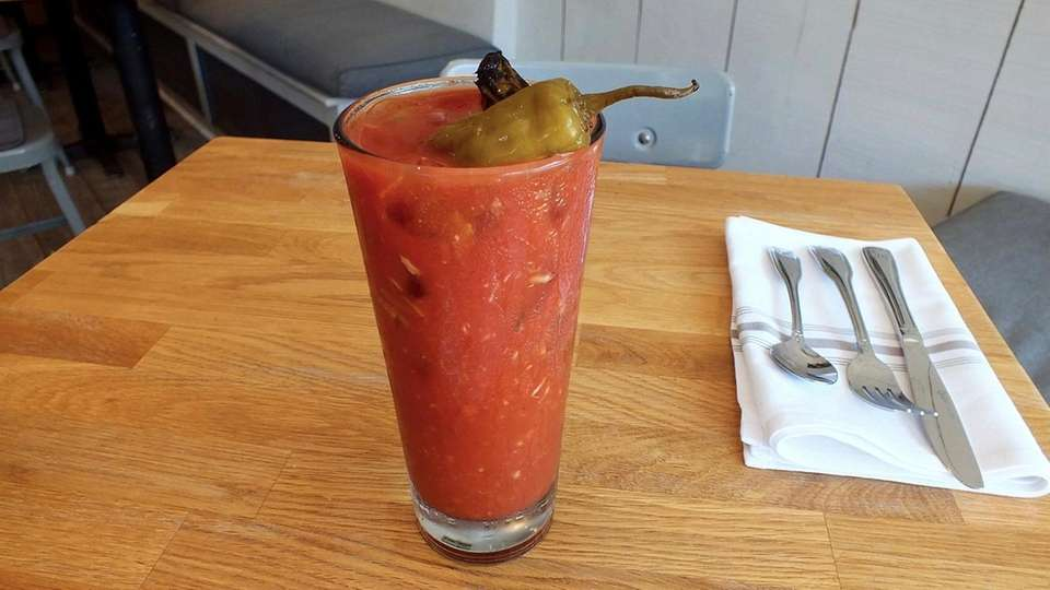 Bloody Mary is topped with a charred pickled