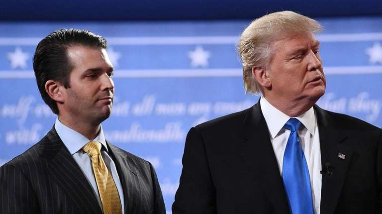 Donald Trump Jr. with his father after the