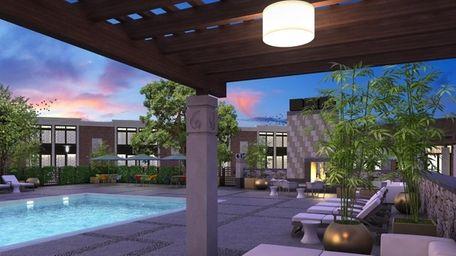 The pool area at Hotel Indigo in Riverhead.