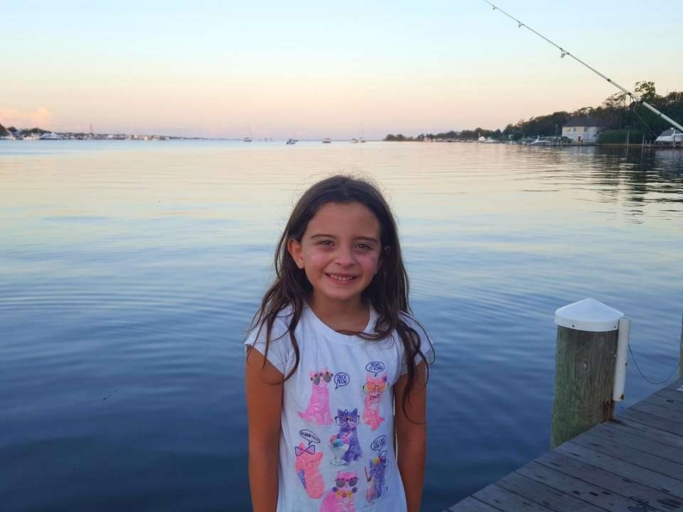Emma Gagliano, 7, having fun fishing and crabbing