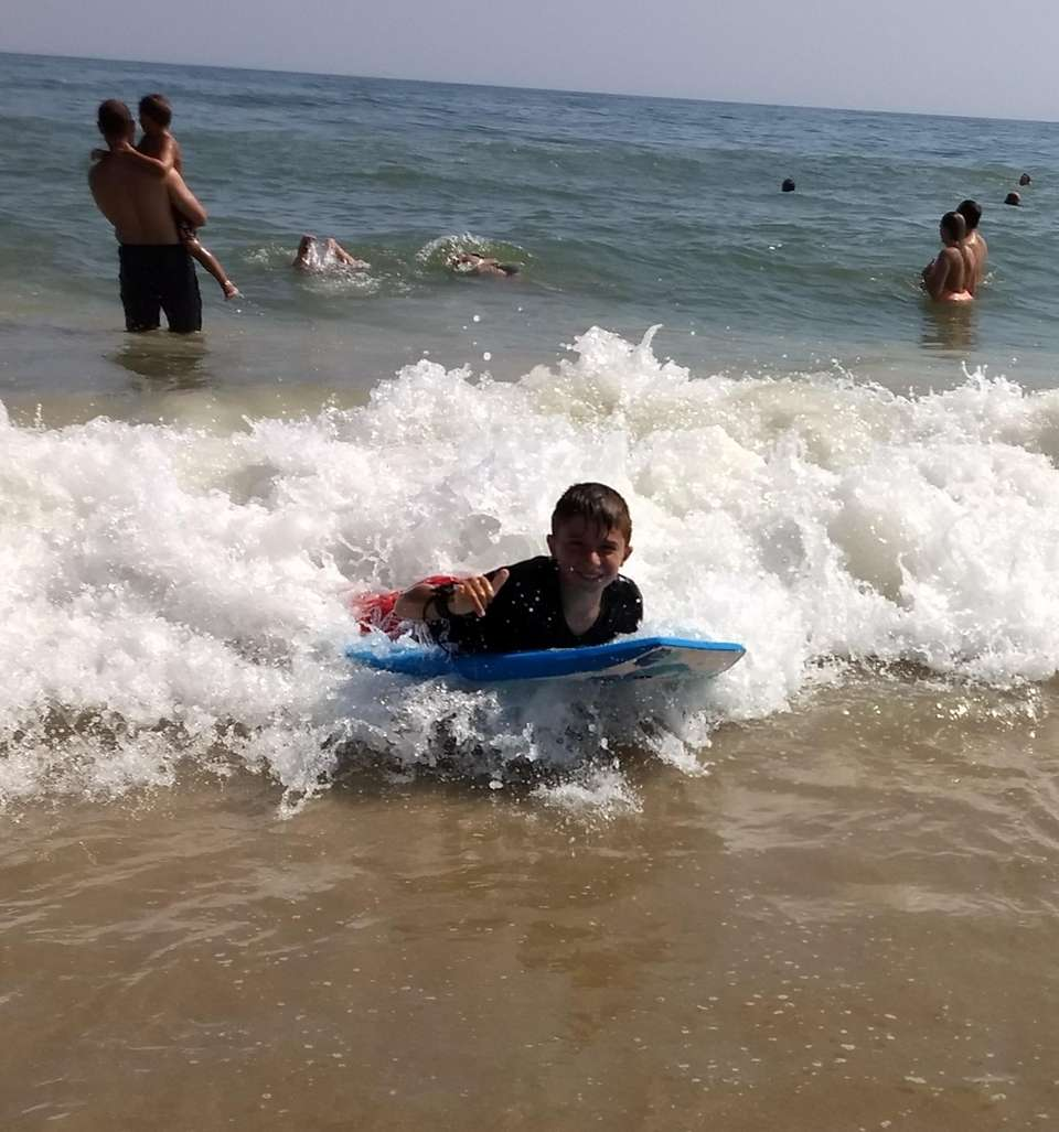 Dante Cunha is catching waves in Montauk. August