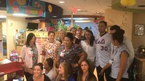 Mets outfielder Michael Conforto on Monday visited the Cancer Center for