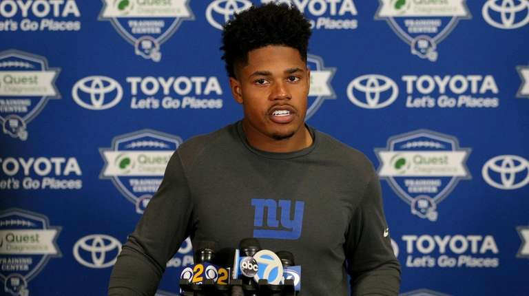Giants wide receiver Sterling Shepard talks to the